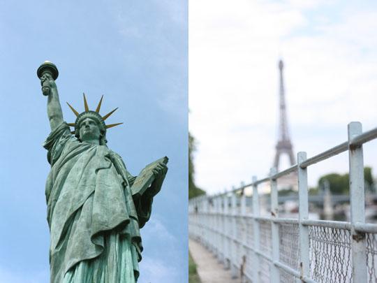 La statue de la liberté sur l'île aux Cygnes