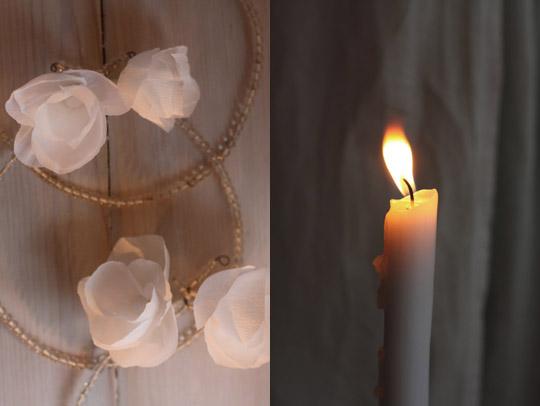 Couronnes de perles et de fleurs