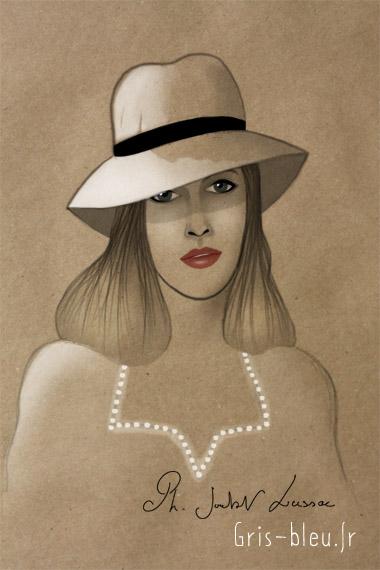 Femme en chapeau
