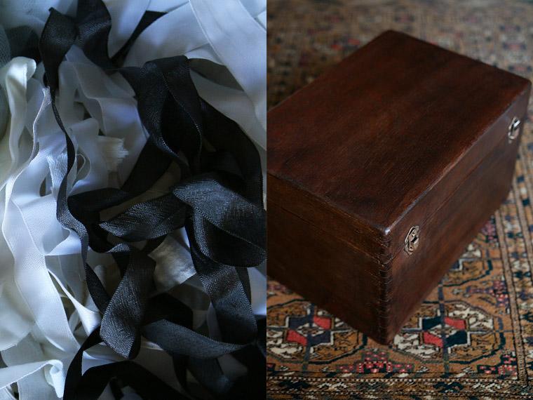 Boîte à couture ancienne restaurée au brou de noix.