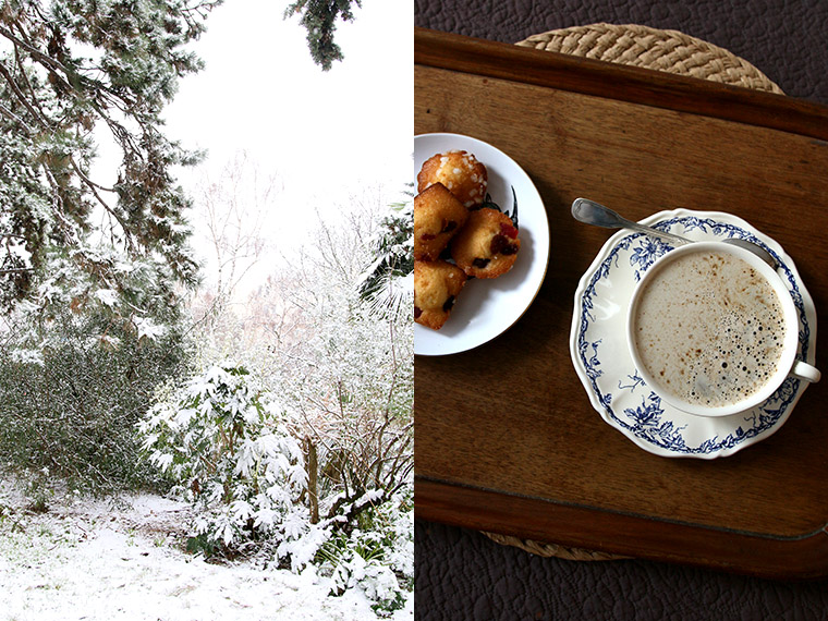 Cappuccino après une promenade sous la neige