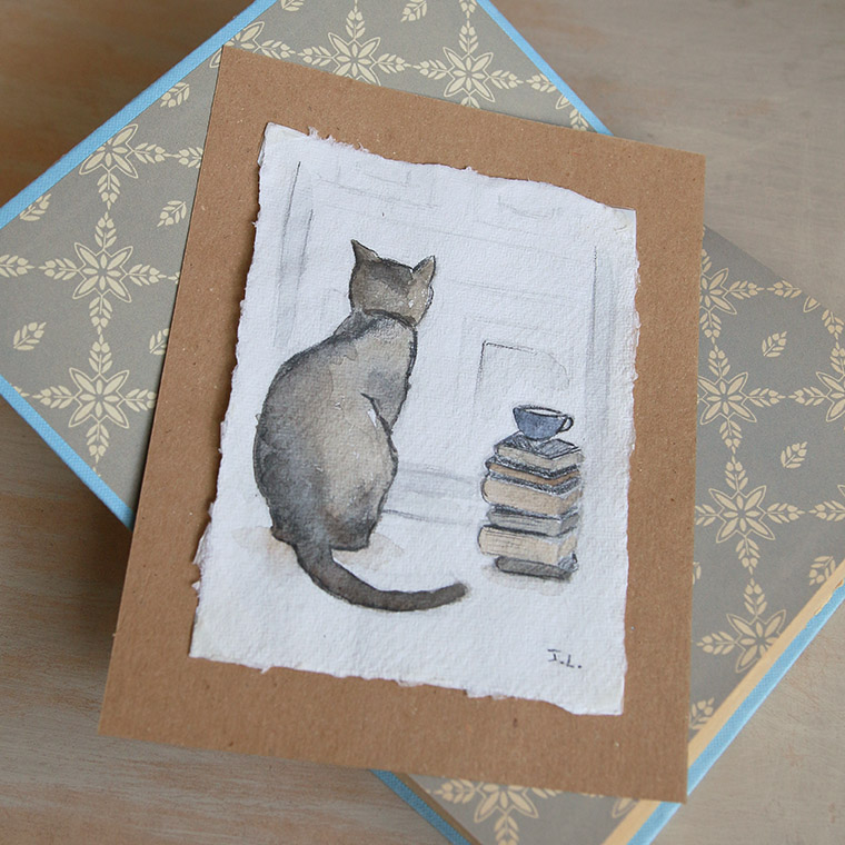 Chat gris aquarellé