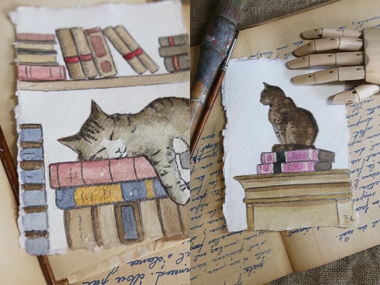 Aquarelles de chats avec des livres