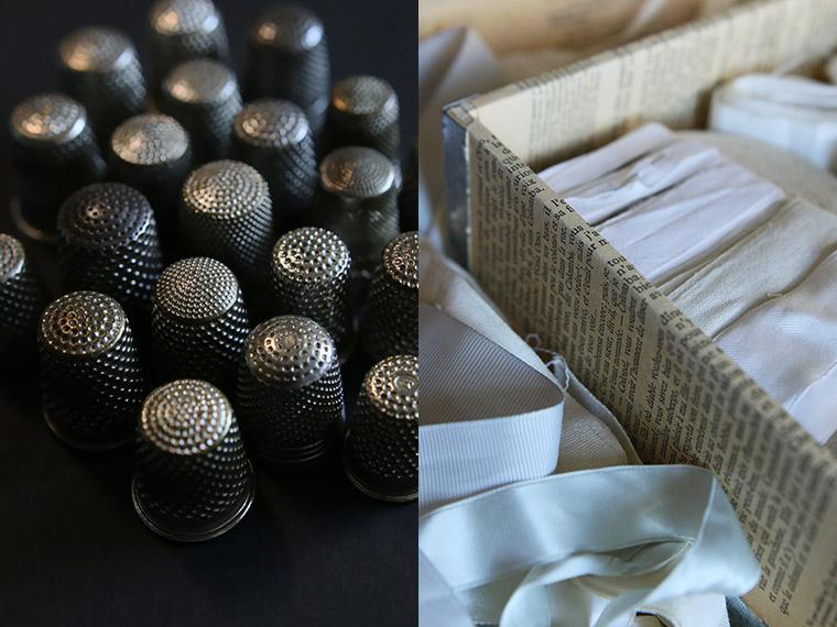 Boîte de rubans blancs et écrus