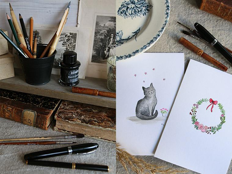 Encre noire et petits dessins à l'aquarelle