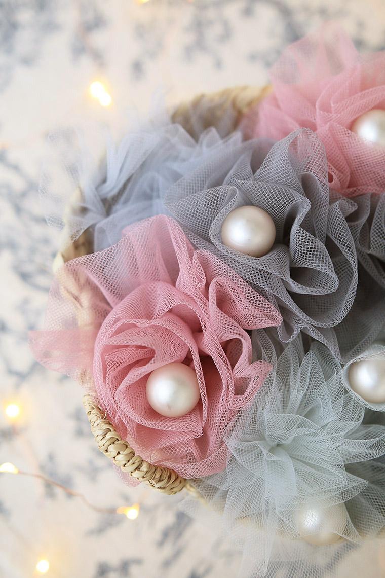 Bouquet de perles et de tulle