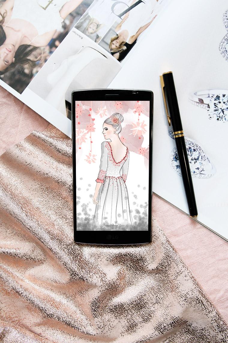 Dessin de mode pour fond d'écran de smartphone