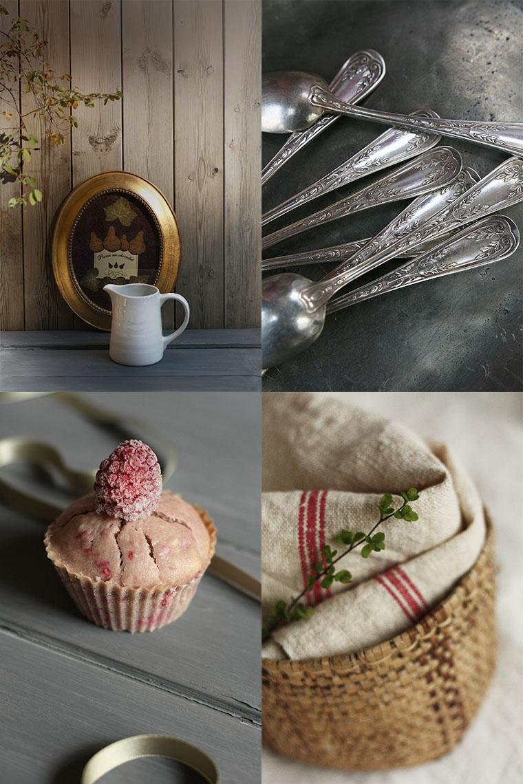 Argenterie et muffin aux framboises