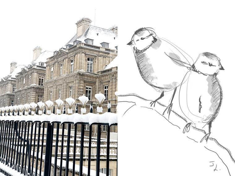 Le Palais du Luxembourg enneigé