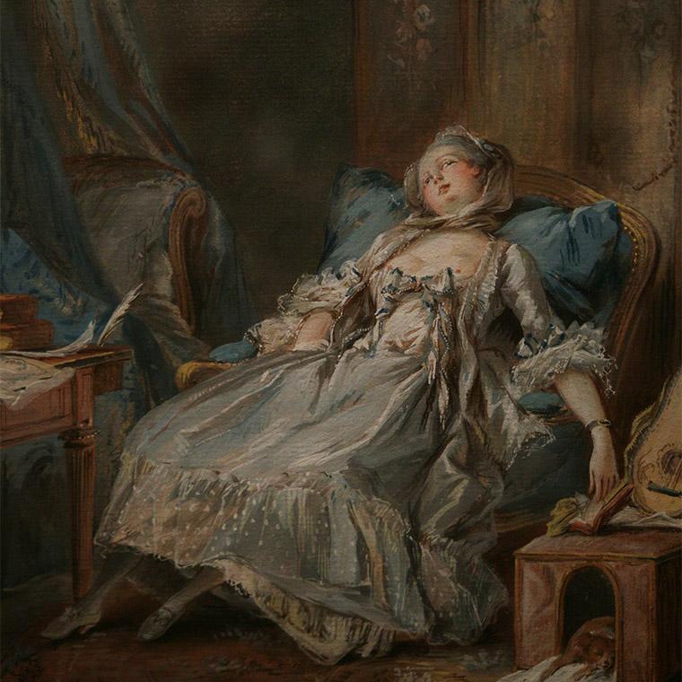 La lectrice endormie de Pierre-Antoine Baudouin, XVIIIe siècle