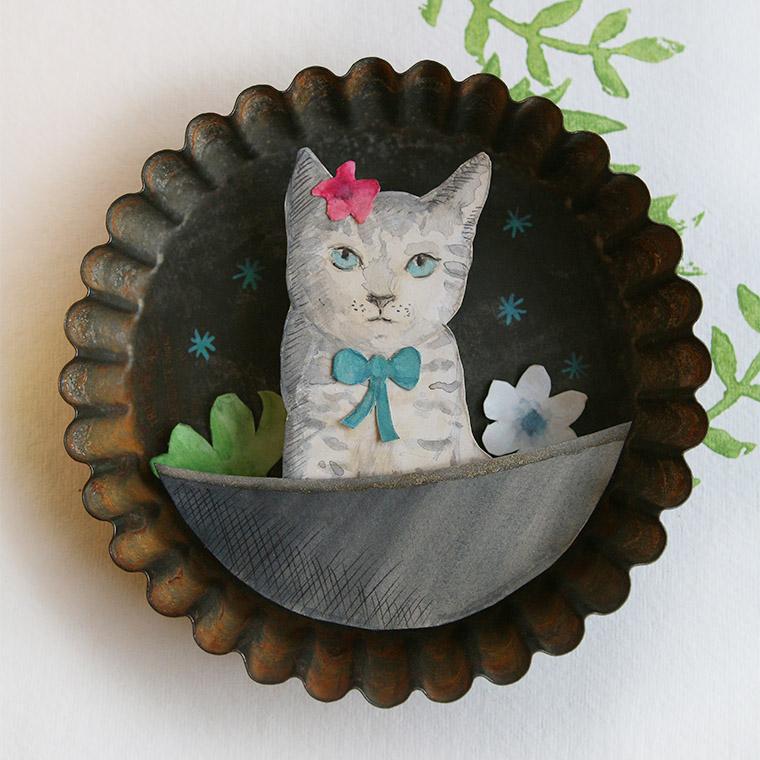 Dessin de chat dans un moule ancien