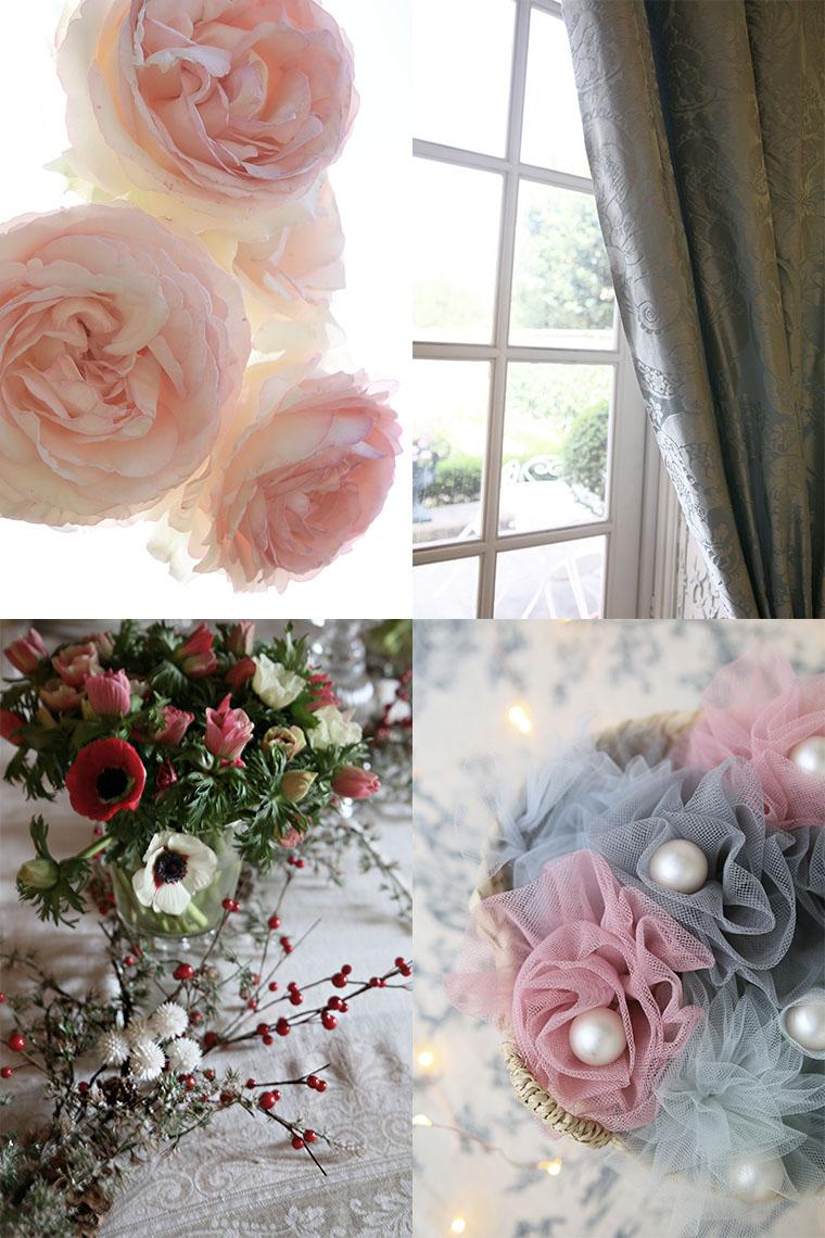 Roses naturelles et roses en tulle
