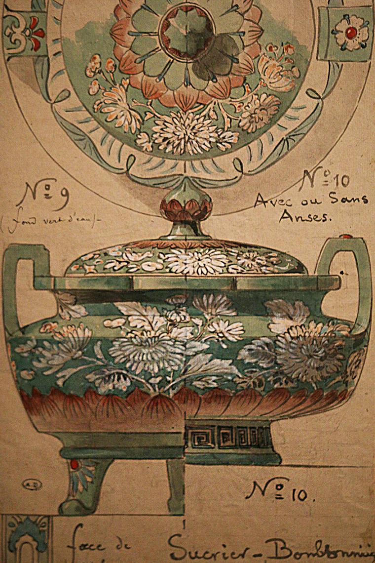 Modèle de sucrier-bonbonnière d'inspiration japonaise par Émile Reiber