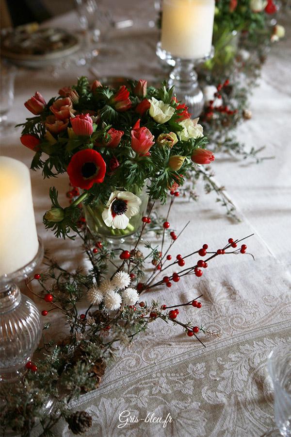Fleurir une table de Noël