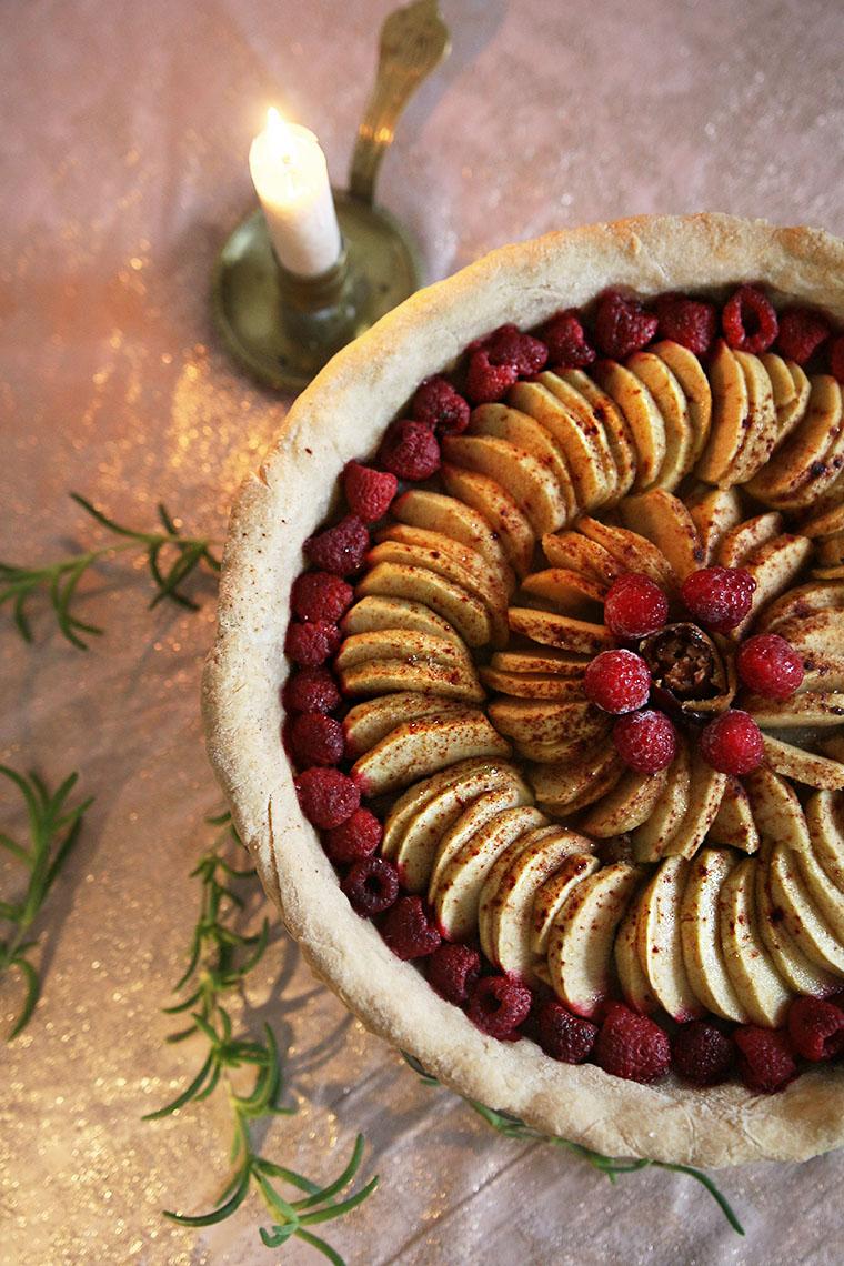 Tarte pommes-framboise