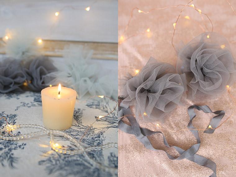 fleurs en tulle gris