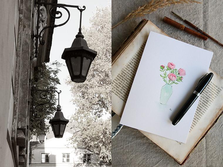 Bouquet de fleurs à l'aquarelle rehaussé avec de l'encre d'archive