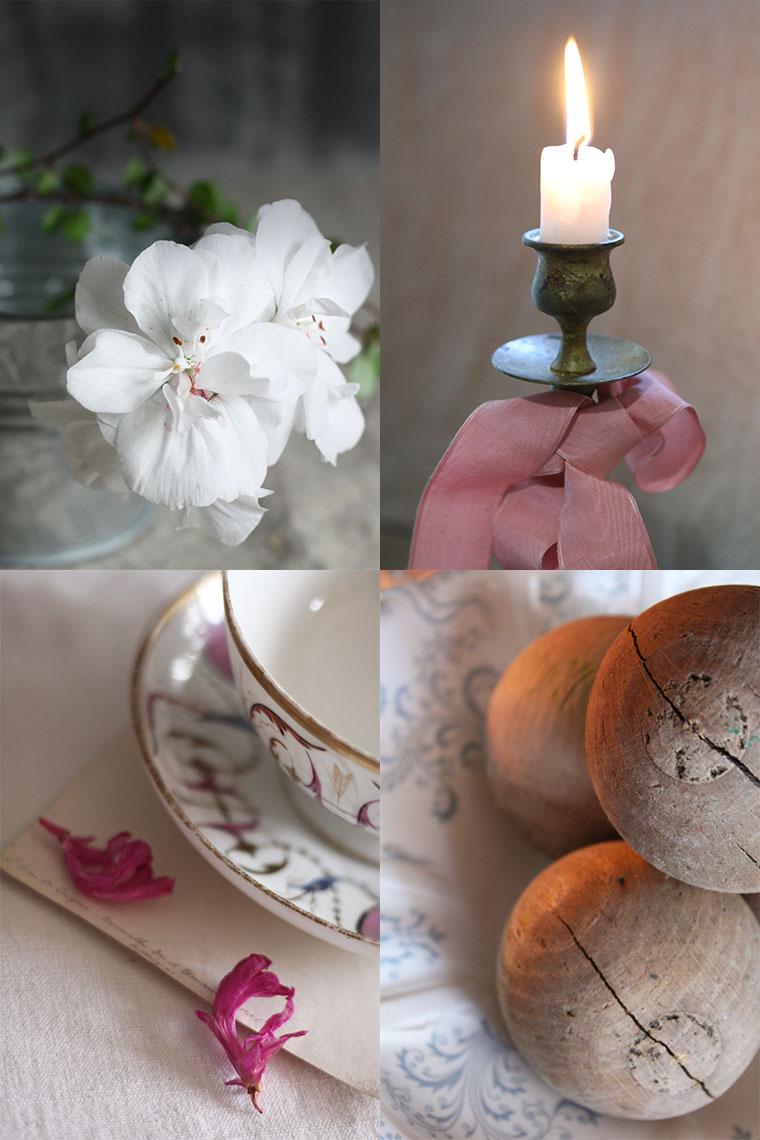 géranium blanc, tasse ancienne et bougie