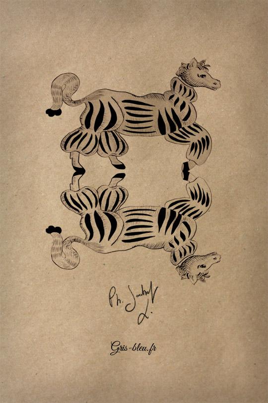 Le chien-cheval-poney à trois pattes